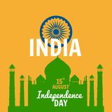 Independence Day of India, August 15, holiday, national flag, building of Taj Mahal, vector, illustration, isolated. Independence Day of India, August 15 stock illustration