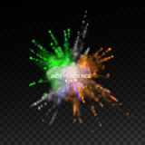 Independence day of India. 15 of August. Powder colorful explosion with Indian flag colors on transparent checkered background vector illustration