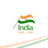 Independence day of India from the British Empire isolate sign of vector retro style logotype. Universal of Logo for Royalty Free Stock Photo