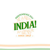 Independence day of India from the British Empire isolate sign of vector retro style logotype. Universal of Logo for Stock Photography