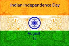 Independence Day of India concept greeting poster. National flag with Ashoka wheel and pattern in the henna style. Vector Illustration Royalty Free Stock Photo