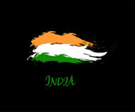 Independence day of India hand drawn sign on black background. Indian national three color flag symbol vector. Illustration. August 15 holiday banner Stock Images