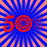 Independence Day of India. 50 percent discount. Rays from the center. Blue wheel with 24 spokes. Independence Day of India. 15 August. 50 percent discount. Rays Royalty Free Stock Images