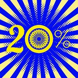 Independence Day of India. 20 percent discount. Rays from the center. Blue wheel with 24 spokes. Independence Day of India. 15 August. 20 percent discount. Rays Stock Illustration