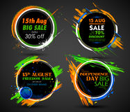 Independence Day of India sale banner with Indian flag tricolor frame Royalty Free Stock Images