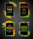 Independence Day of India sale banner with Indian flag tricolor frame. Illustration of Independence Day of India sale banner with Indian flag tricolor frame Royalty Free Stock Photos