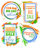 Independence Day of India sale banner with Indian flag tricolor frame. Illustration of Independence Day of India sale banner with Indian flag tricolor frame Royalty Free Stock Image