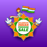 Independence Day of India sale banner with Indian flag tricolor. Illustration of Independence Day of India sale banner with Indian flag tricolor Royalty Free Stock Photos