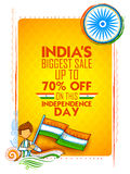 Independence Day of India sale banner with Indian flag tricolor. Illustration of Independence Day of India sale banner with Indian flag tricolor Stock Photos