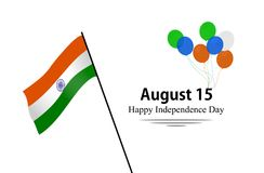 Independence Day of India. 15th august .Greeting card. Vector illustration. Happy Independence Day India. Greeting card. Vector and illustration. Isolated in Vector Illustration