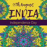 Independence Day of India. 15 th of August with mandala. Oriental pattern,  illustration. Islam, Arabic Indian turkish motif. Independence Day of India. 15 th of Stock Photography