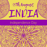 Independence Day of India. 15 th of August with mandala. Oriental pattern,  illustration. Islam, Arabic Indian turkish motif. Independence Day of India. 15 th of Stock Images
