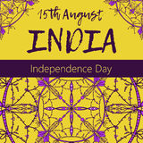 Independence Day of India. 15 th of August with mandala. Oriental pattern,  illustration. Islam, Arabic Indian turkish motif Stock Images
