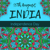 Independence Day of India. 15 th of August with mandala. Oriental pattern,  illustration. Islam, Arabic Indian turkish motif. Independence Day of India. 15 th of Royalty Free Stock Photos