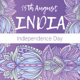Independence Day of India. 15 th of August with mandala. Oriental pattern,  illustration. Islam, Arabic Indian turkish motif. Independence Day of India. 15 th of Stock Photo