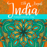 Independence Day of India. 15 th of August with mandala. Oriental pattern,  illustration. Islam, Arabic Indian turkish motif. Independence Day of India. 15 th of Royalty Free Stock Photography