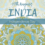 Independence Day of India. 15 th of August with mandala. Oriental pattern, vector illustration. Islam, Arabic Indian turkish motifs vector illustration