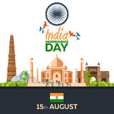 Independence day of India. Vector illustration. 15th August. Stock Photo