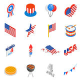 Independence day isometric 3d icons. Set  on white background Royalty Free Stock Photo