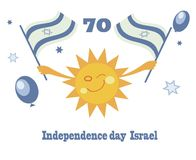 Independence day Israel. Holiday greeting card for independence day Israel with funny cartoon sun and flags Israel Royalty Free Stock Photo