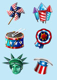 Independence day items. Happy 4th of july vector items Royalty Free Stock Image