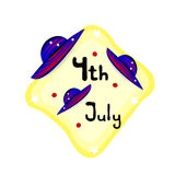 Independence Day- 4 July- emblem with hats Royalty Free Stock Image