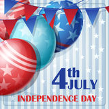 Independence Day on July 4 with flags and balloons Royalty Free Stock Images