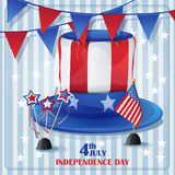 Independence Day on July 4 with flags and caps. Background to Independence Day on July 4 with flags and caps Royalty Free Stock Photo