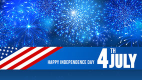 Independence day. 4 July Independence day of United States of America - festive vector cards with fireworks vector illustration