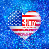 Independence day. 4 July Independence day of United States of America - festive vector cards with fireworks royalty free illustration
