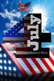 Independence Day - July 4. US flags on blue sky with number 4 and written July - concept of Independence Day - July 4th Stock Photos