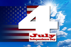 Independence Day - July 4. US flags on blue sky with number 4 and written July - concept of Independence Day - July 4th Stock Photography