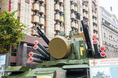 Independence Day in Khreshchatyk Street in Kyiv, Ukraine. Exhibition of military equipment. Editorial. 08.24.2017 Stock Images