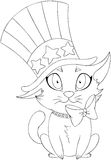 Independence Day Kitten Coloring Page Royalty Free Stock Photography
