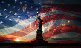 Independence day. Liberty enlightening the world royalty free stock image