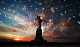 Independence day. Liberty enlightening the world Stock Photos