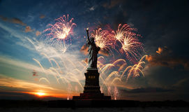 Independence day. Liberty enlightening the world Stock Photography