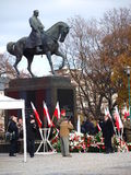 Independence Day, Lublin, Poland. Military and municipal authorities laying wreaths at the monument of Jozef Pilsudski. The celebrations of the Independence Day royalty free stock images