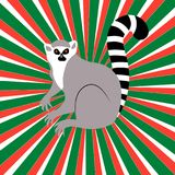Independence Day in Madagascar. 26 June. Rays from the center, colors of the flag of Madagascar, lemur. Independence Day in Madagascar. 26 June. Concept of a Stock Photography
