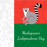 Independence Day in Madagascar. 26 June. Flag of Madagascar, lemur, grunge texture. Independence Day in Madagascar. 26 June. Concept of a national holiday. Flag Stock Photo