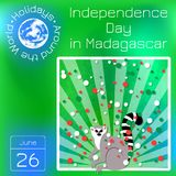 Independence Day in Madagascar. 26 June. Rays from below, lemur. Circles of flag colors - white, red, green. Series calendar. Holi. Independence Day in Royalty Free Stock Photography