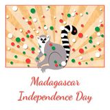 Independence Day in Madagascar. 26 June. Rays from below, lemur. Yellow background, grunge texture. Circles of flag colors - white. Independence Day in Royalty Free Stock Photos