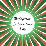 Independence Day in Madagascar. 26 June. Rays from the center, colors of the flag of Madagascar. Independence Day in Madagascar. 26 June. Concept of a national Royalty Free Stock Images