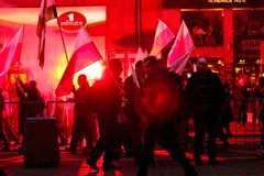 Independence Day March in Warsaw Poland Marred by Violence and Controversy. 2 Royalty Free Stock Photos