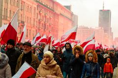 Independence Day March in Warsaw Poland Marred by Violence and Controversy. 6 Royalty Free Stock Images