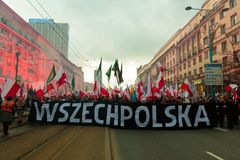 Independence Day March in Warsaw Poland Marred by Violence and Controversy. 7 Stock Photos