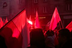 Independence Day March in Warsaw Poland Marred by Violence and Controversy. 8 Royalty Free Stock Photos