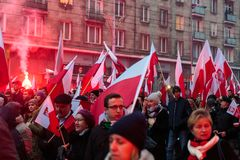 Independence Day March in Warsaw Poland Marred by Violence and Controversy. 9 Stock Photo