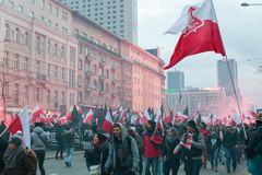 Independence Day March in Warsaw Poland Marred by Violence and Controversy. 1 Royalty Free Stock Photos