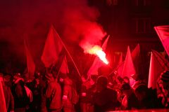 Independence Day March in Warsaw Poland Marred by Violence and Controversy. 1 Royalty Free Stock Photography